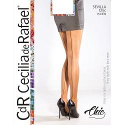 Dres elegant cu dunga verticala Cecilia De Rafael Sevilla Chic, microfibra 15 DEN, bej