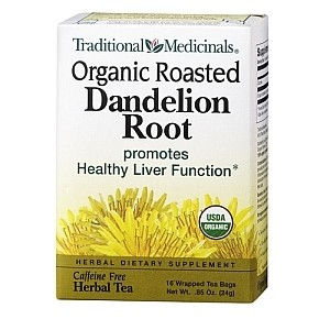 TRADITIONAL MEDICINALS ORGANIC ROASTED DANDELION ROOT HERBAL TEA 16 PLICULETE